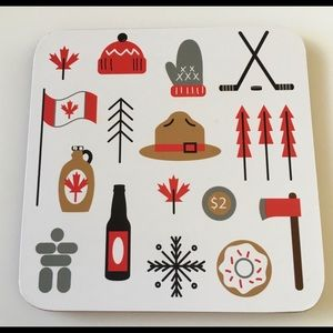 French Canadian Cork Backed Drink Coaster Set